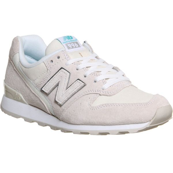 New Balance Wr996 (€50) ❤ liked on Polyvore featuring shoes, hers trainers, new luxe off white silver, trainers, new balance, new balance footwear, champagne shoes, off white shoes and embroidered shoes