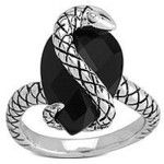 Rock & Redemption Onyx Ring with Sterling Silver Snake Overlay