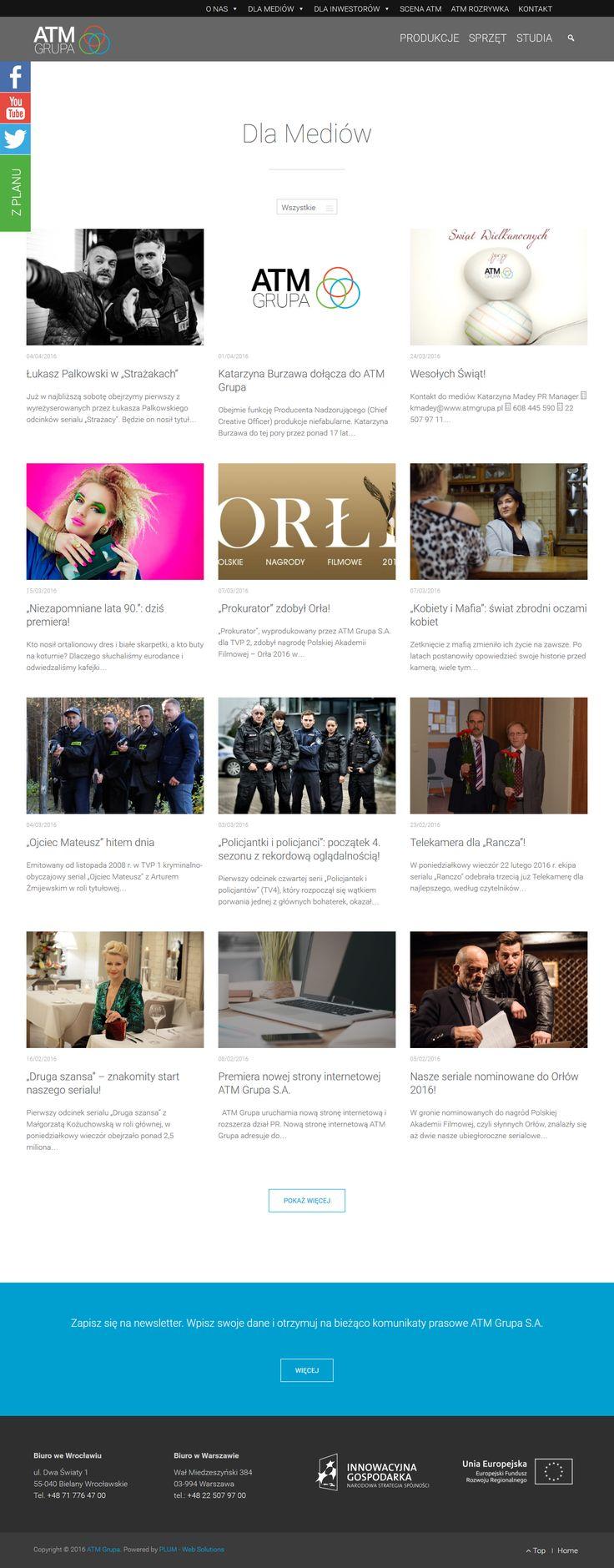 Przykład nowoczengo, przejrzystego modułu prasowego, gdzie zamieszczane są najnowsze informacje z życia firmy oraz działań podejmowanych przez jej pracowników. Możliwość zapisania się do newslettera, interakcja podstrony z social mediami
