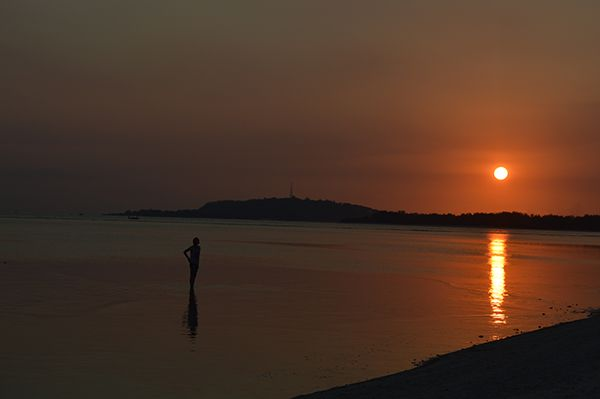 Amazing sunset in the Gili Air, Indonesia