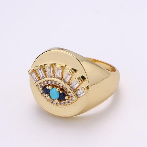 Protection Gift Adjustable 18K Gold Plated Evil Eye Ring CZ Paved
