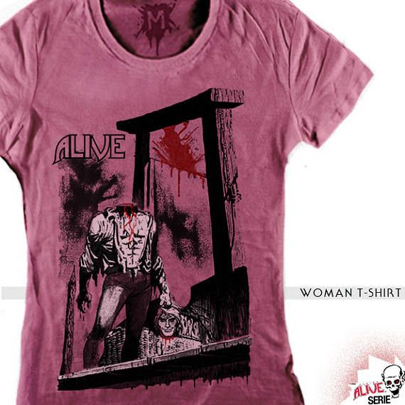 GUILLOTINE vintage pink WOMAN  t-shirt, halloween t-shirt, horror tees, man retro tees, woman retro t-shirt, monster t-shirt, horror tee