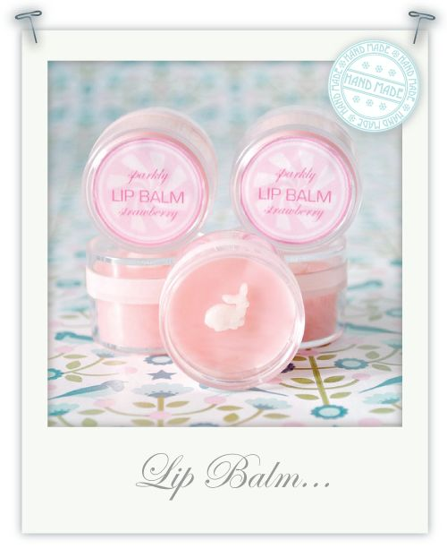 Hand-made sparkly strawberry lip balm for Christmas gifts