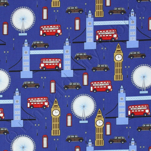 Next Stop London Fabric  % EBay: Blue London, Robert Kaufman, Cotton Fabrics, London Fabrics, Fabrics Yardag, Landmarks Royals, Shower Curtains, Stop London Landmarks, Dark Blue