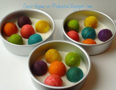 Polka-dot cake: Place already made cake balls inside cake pan with cake batter, then bake!