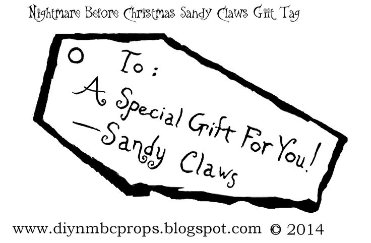 Nightmare Before Christmas Sandy Claws Gift Tags Printable