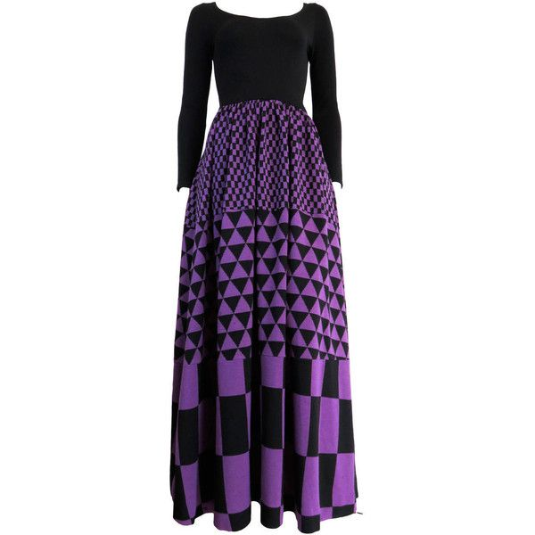 Pre-owned 1970's RUDI GERNREICH Knit wool geometric panel dress ($750) ❤ liked on Polyvore featuring dresses, day dresses, vintage cocktail dress, purple dress, purple cocktail dress, special occasion dresses and long sleeve cocktail dresses