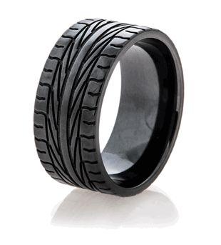 Black Goodyear tire ring. Looks like I found Tyler's wedding band (;