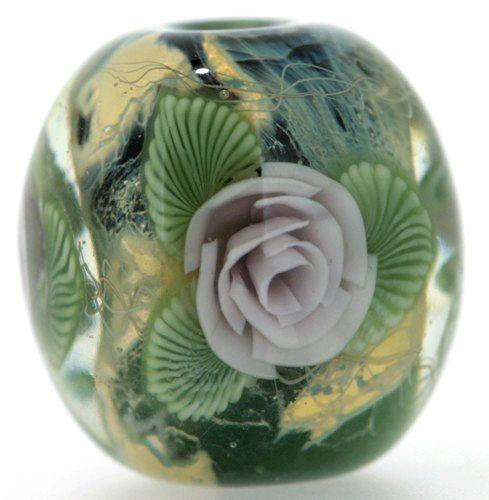 Shirley Blooming Lampwork Japanese Satake Glass Focal Bead SRA Handmade #Shirleydesign
