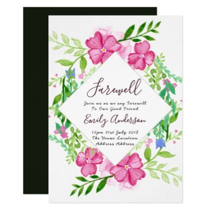 Elegant Farewell Invites Floral Watercolor Goodbye - invitations custom unique diy personalize occasions