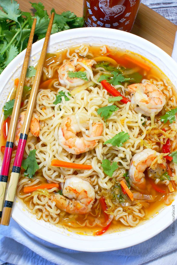 This spicy shrimp ramen bowl recipe brings a cheap meal to the next level. Fresh veggies and tender shrimp really puts it over the top.