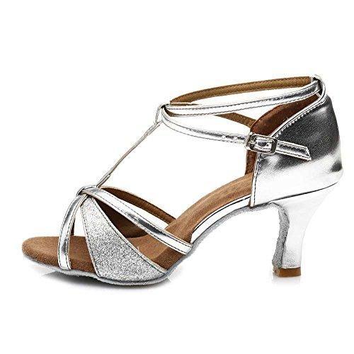 Oferta: 25.99€ Dto: -31%. Comprar Ofertas de HROYL Zapatos de baile/Zapatos latinos de el plateado satín mujeres ES7-F55 EU 38 barato. ¡Mira las ofertas!