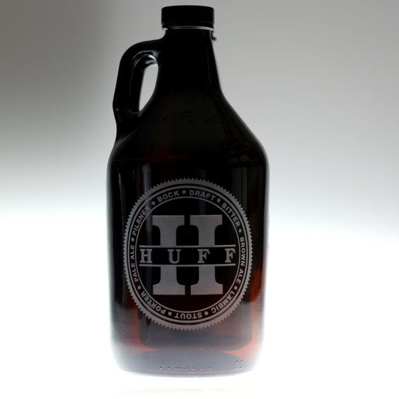 Growler Custom engraved with beer names circled around Large initial centered last name,homebrew gift,home brew,growler gift,custom growler