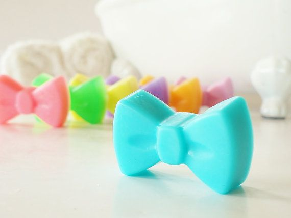 30 BULK MINI BOW Soaps -  Choose Scent & Color, diy party favors, shower, girl, birthday, bridal shower, hairbow, bows