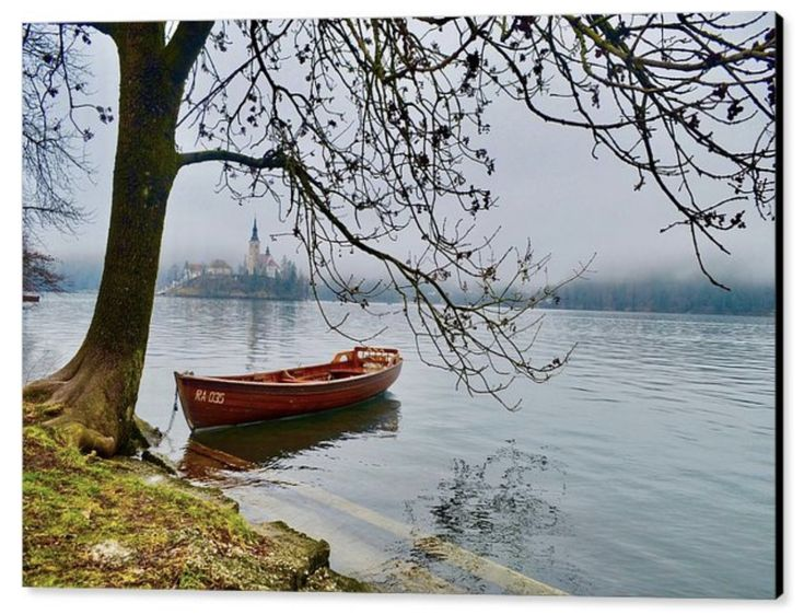 Vintage Row Boat On Calm Lake. The morning mist lingers over the calm lake. The lake is full with the winter rains. This lovely vintage row boat awaits it's masters. Will they be going out today?