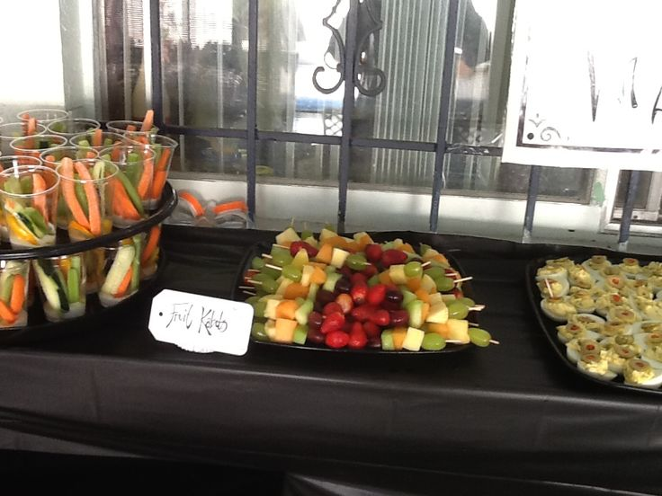 Fruit kabobs and Deviled eggs