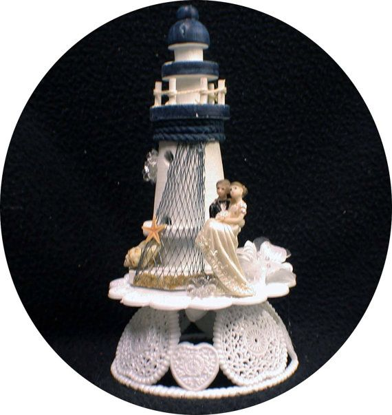NEWEST LIGHTHOUSE Wedding Cake Topper Light by YourCakeTopper