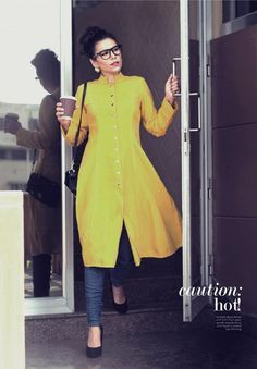 Closed collar/Kameez style kurti with jeans. Read more http://fashionpro.me/10-styles-of-kurtis-for-jeans