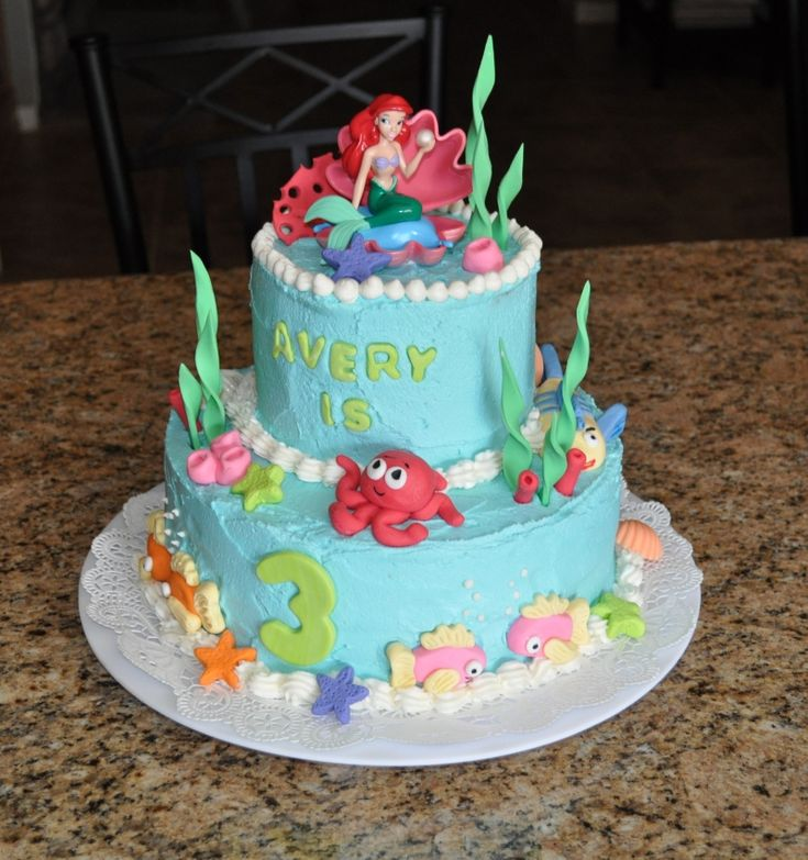 The little mermaid birthday cake fondant kids birthday for Ariel cake decoration