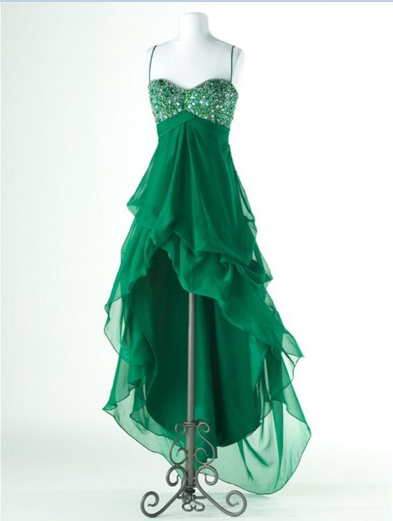 Green Chiffon Homecoming Dresses, Hi-Low Homecoming Dresses, Rhinestone…