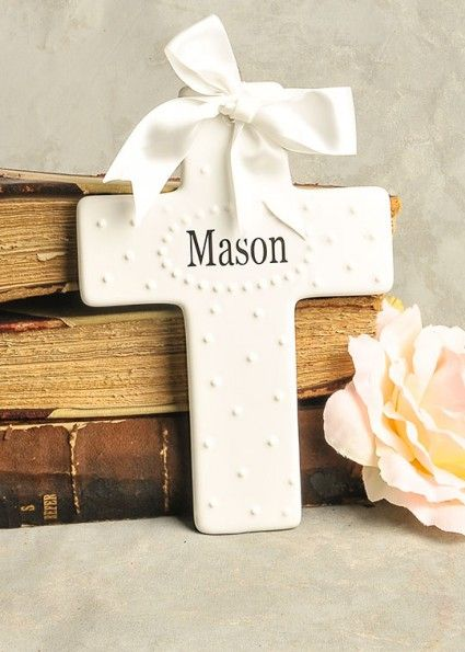 Personalized Porcelain Cross Christening Gift