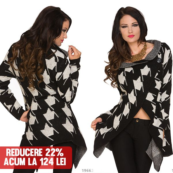 Poncho Grace Black & White  >> Click pe poza pentru a intra pe site. #VinereaNeagra #BlackFriday #Reduceri #fashion #BlackFridayFashion #ReduceriBlackFriday