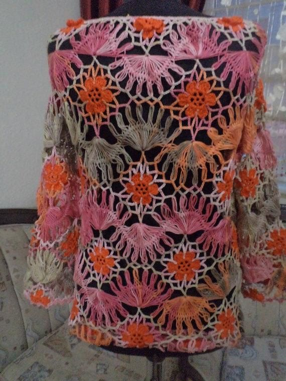hairpin mercerized crochet blouse / poor sleeve blouse/ ready to be sent .. / Size Medium