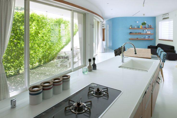 Blick von der Küche bis zur grünen Wand Fluid Bio & nachhaltige Vermögenswerte Featured In ein japanisches Home von Hideo Kumaki Büro Architekten