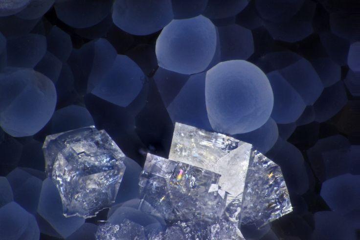 Chabazite, Thomsonite(Ca,K2,Na2)2[Al2Si4O12]2·12H2O, Na(Ca,Sr)2Al5Si5O20·6-7H2O Locality: Deer Creek, North Fork John Day River, Grant Co., Oregon, USA Field of View: 3.5 mm Colorless rhombohedra of chabazite occur with smooth blue hemispheres of...