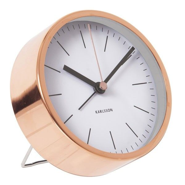 Karlsson Alarm Clock Minimal - designer copper alarm clock