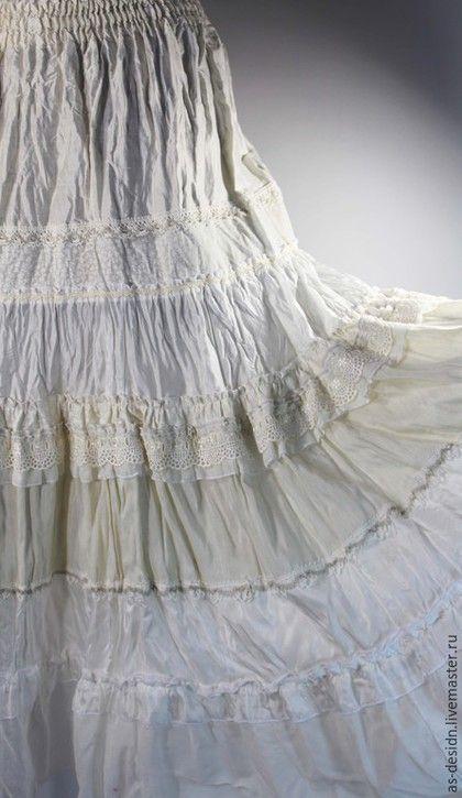 Юбки ручной работы. Ярмарка Мастеров - ручная работа. Купить Юбка белая шелковая  макси. Handmade. Белая юбка