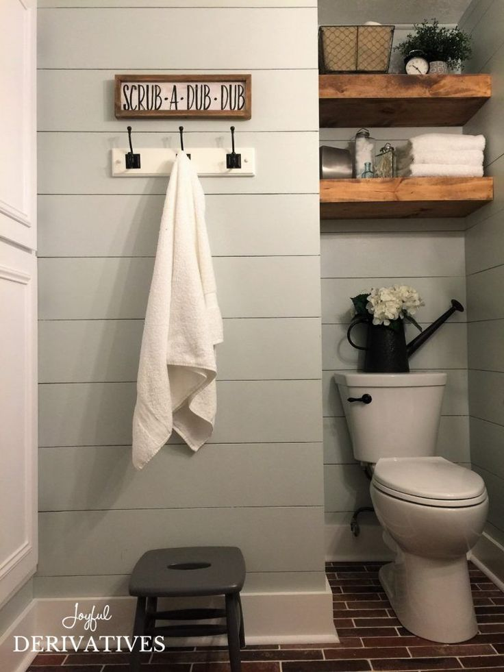 Farmhouse Bathroom Makeover- paint color Bayberry Frost by Behr