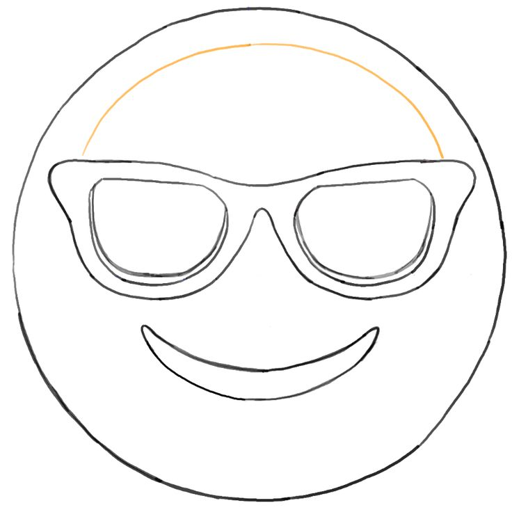 Sunglass emoji faces coloring pages sketch coloring page for Free emoji templates
