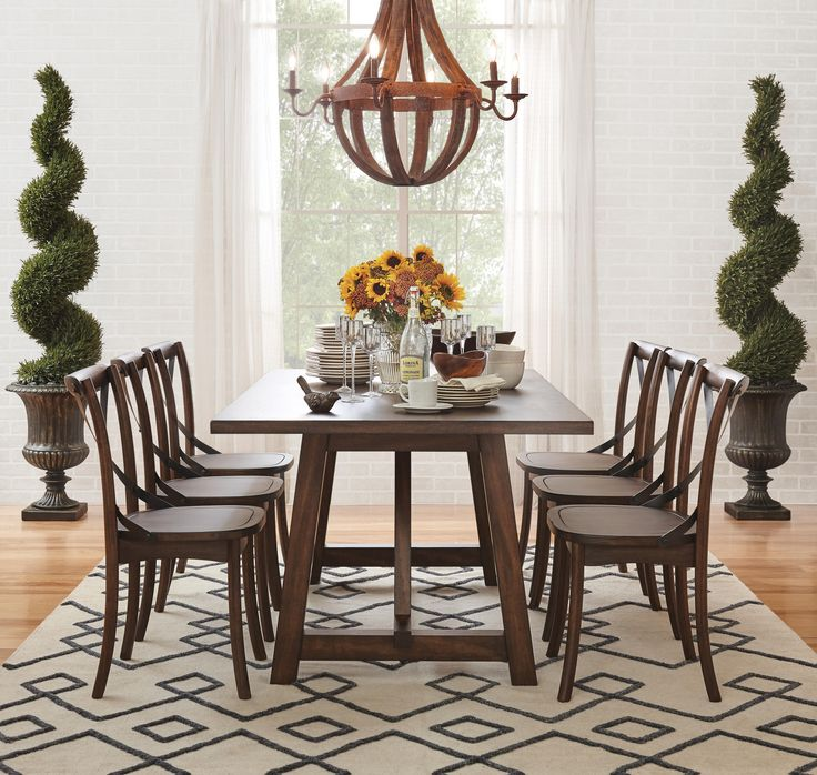 Lindsey Dining Collection - Trestle Table: Burnished oak finish dinette has a trestle base with shaker style legs. CLICK TO SEE THE ART VAN BLACK FRIDAY SALE PRICE!