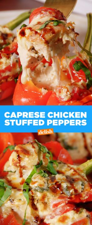 Caprese Chicken Stuffed Peppers are *the* dinner of spring. Get the recipe from Delish.com.