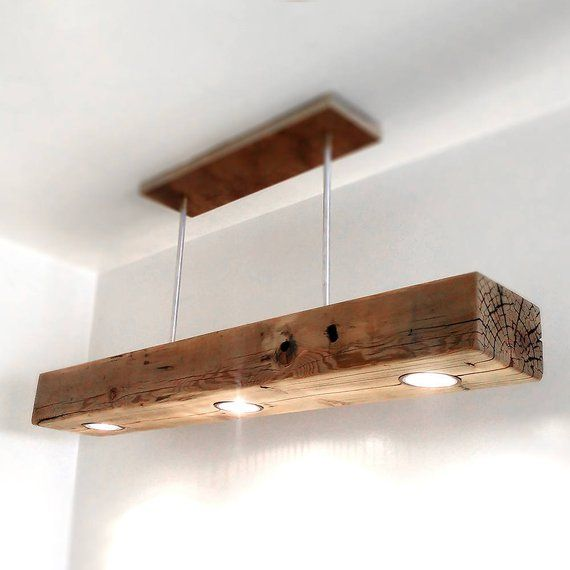Reclaimed Wood Beam Spot LED Pendant Light Fixture with modern metal canopy base