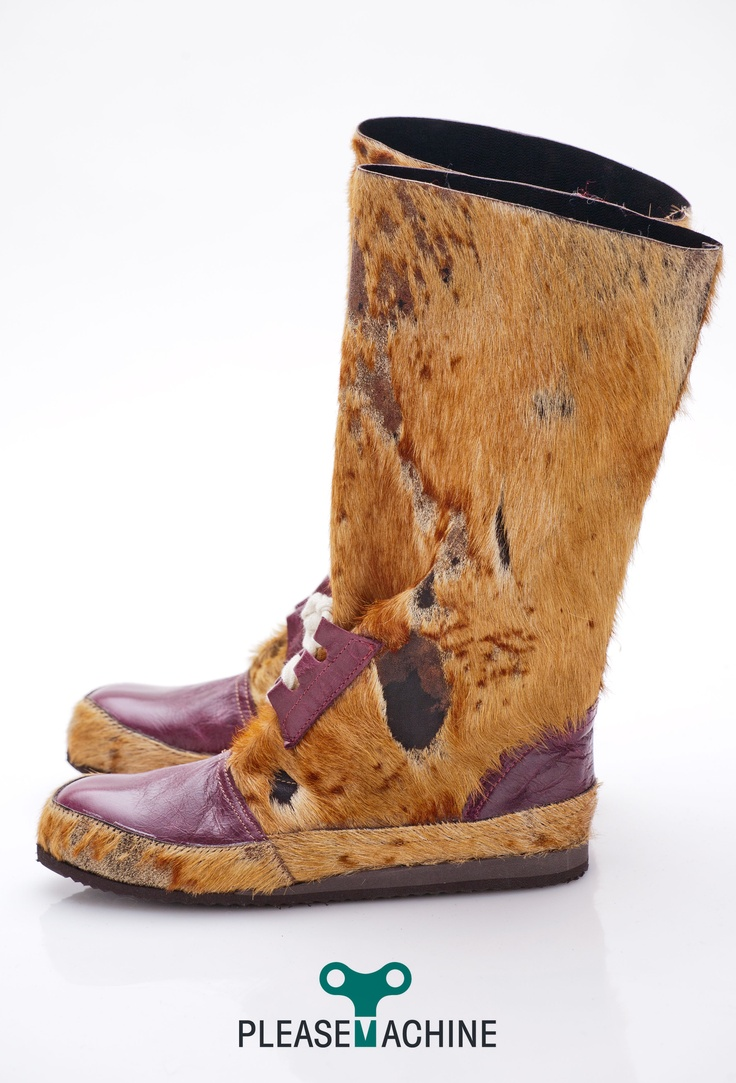 Cow fur and leather designer boots for Her.  Winter'13