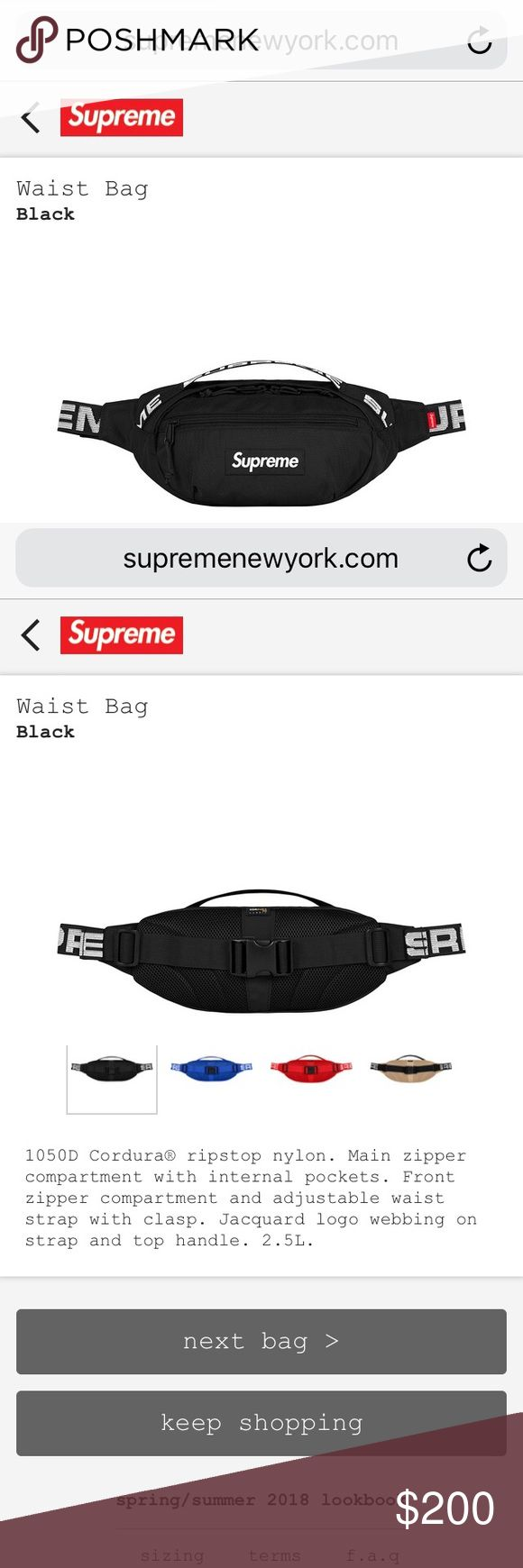 2018 Black Supreme Waist Bag Straight from the website, 100% authentic. SOLD OUT IN STORES AND ONLINE Supreme Bags