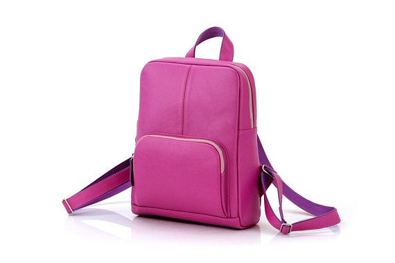 Womens Backpack for A4  Leather Backpack for girl  Pink