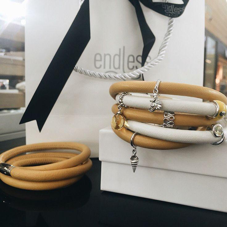 Yellow endless leather bracelets