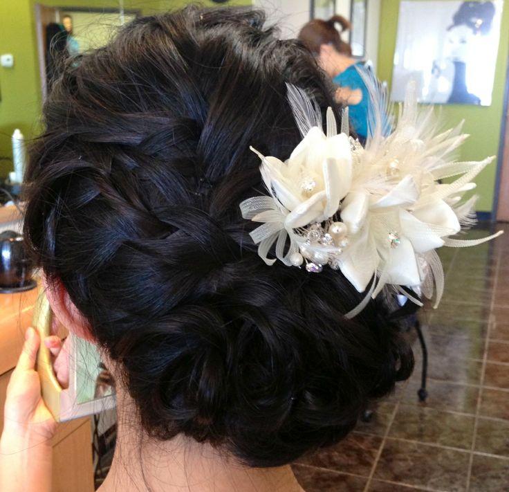 Wedding updo, wedding hair, updo, textured updo, chignon, braids, asian bridal hair