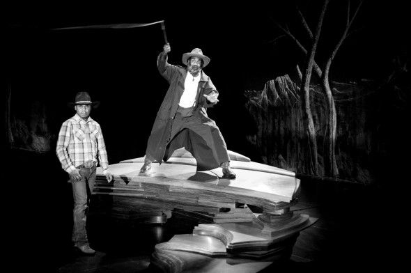 Derik Lynch and Trevor Jamieson. Performance of Namatjira. Photo by Grant MacIntyre