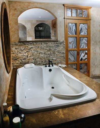 A bath tub built for two, this is the best thing bathroom