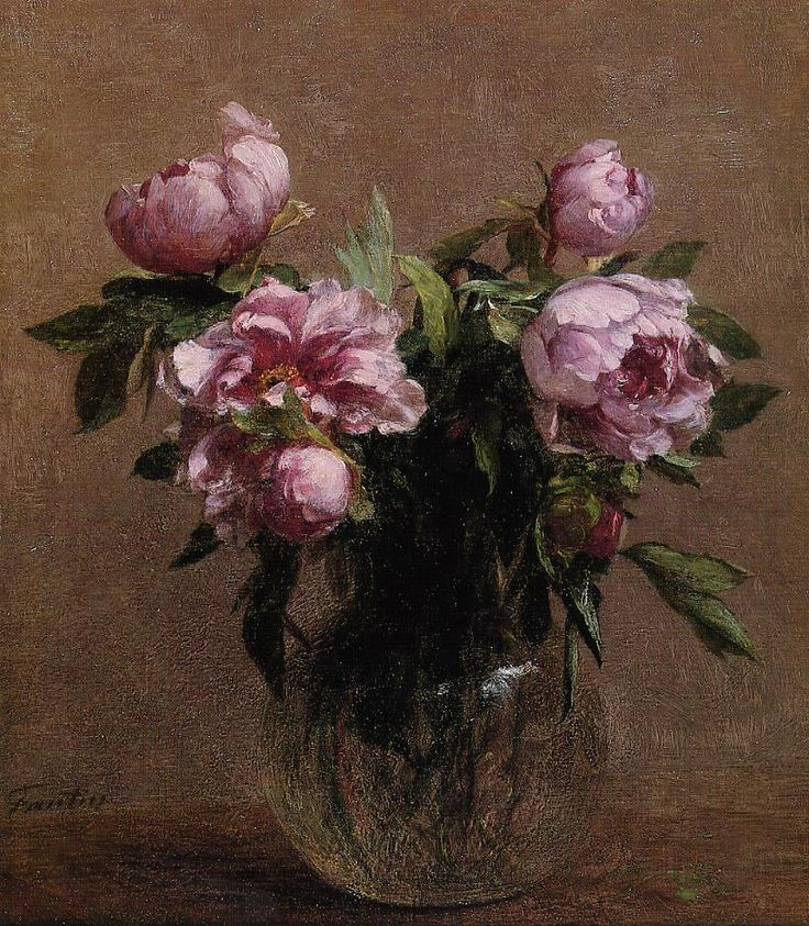 "Henri Fantin-Latour (1836-1904) was a French painter and lithographer best known for his flower paintings and group portraits of Parisian artists and writers. ~ ""Vase of Peonies"""