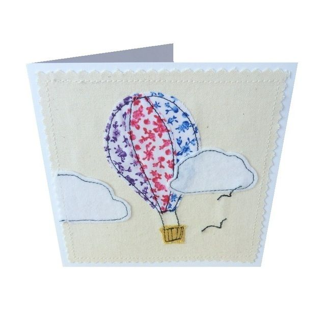 Hot air balloon textile applique card