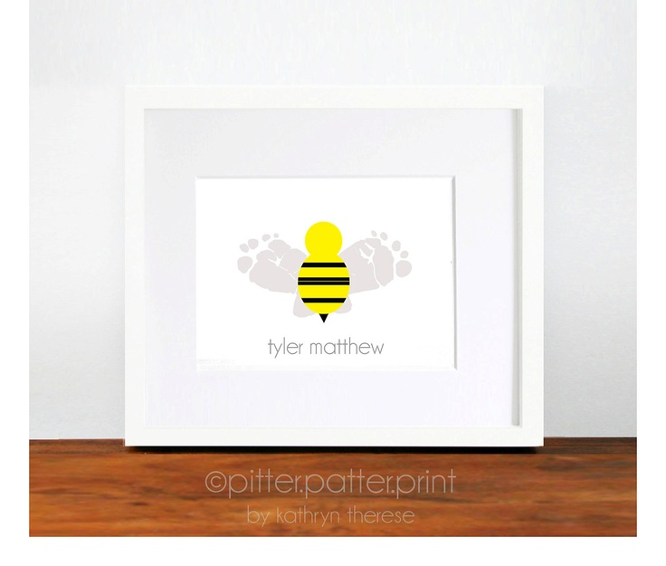 Baby Nursery Decor Bumble Bee Footprint Art Print