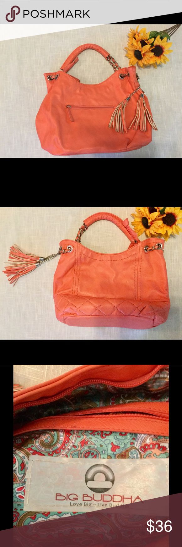 """Unique Big Buddha bag, large hobo SALE NOW! Great condition, gorgeous coral/orange hobo tote to carry all of your necessities. Chains, tassels and logo tag, vegan-friendly leather-like, 12"""" high, 16"""" wide, 5"""" across bottom.  A deal at $36.00 Big Buddha Bags Shoulder Bags"""