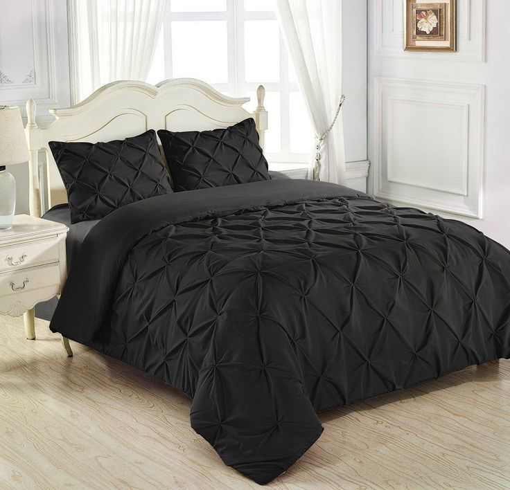 5 Pc Pinch Pleated Egyp.Cotton Black Duvet Cover Available In Full Xmas
