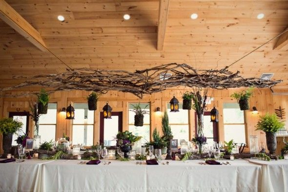 Perfect table, just replace ferns with colorful snapdragons, lantanas, delphiniums, and celosias  rusticweddingchic.com