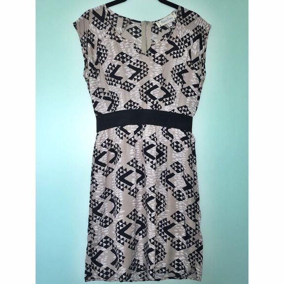 """Francesca's Tan Patterned Dress 33.5"""" from shoulder to hem. 100% polyester. Never worn. Soft fabric with a thick elastic to define small waist. Pair this with black heels and a black sweater for a simple date night! Francesca's Collections Dresses Midi"""